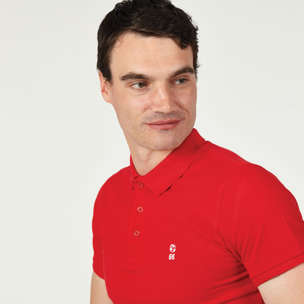 T-lab 66 Mens football polo shirt red