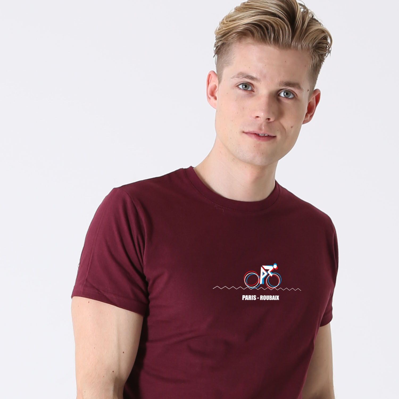 T-lab-Paris-Roubaix-Mens-t-shirt-burgundy