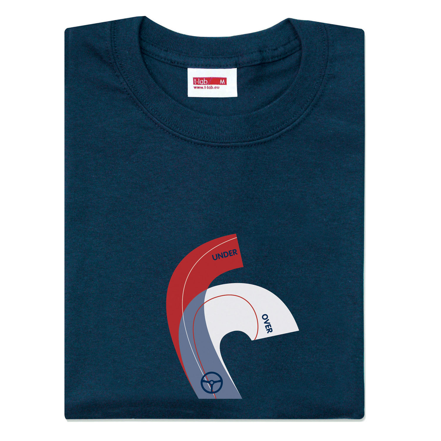 T-lab Over & Out mens t-shirt navy chest