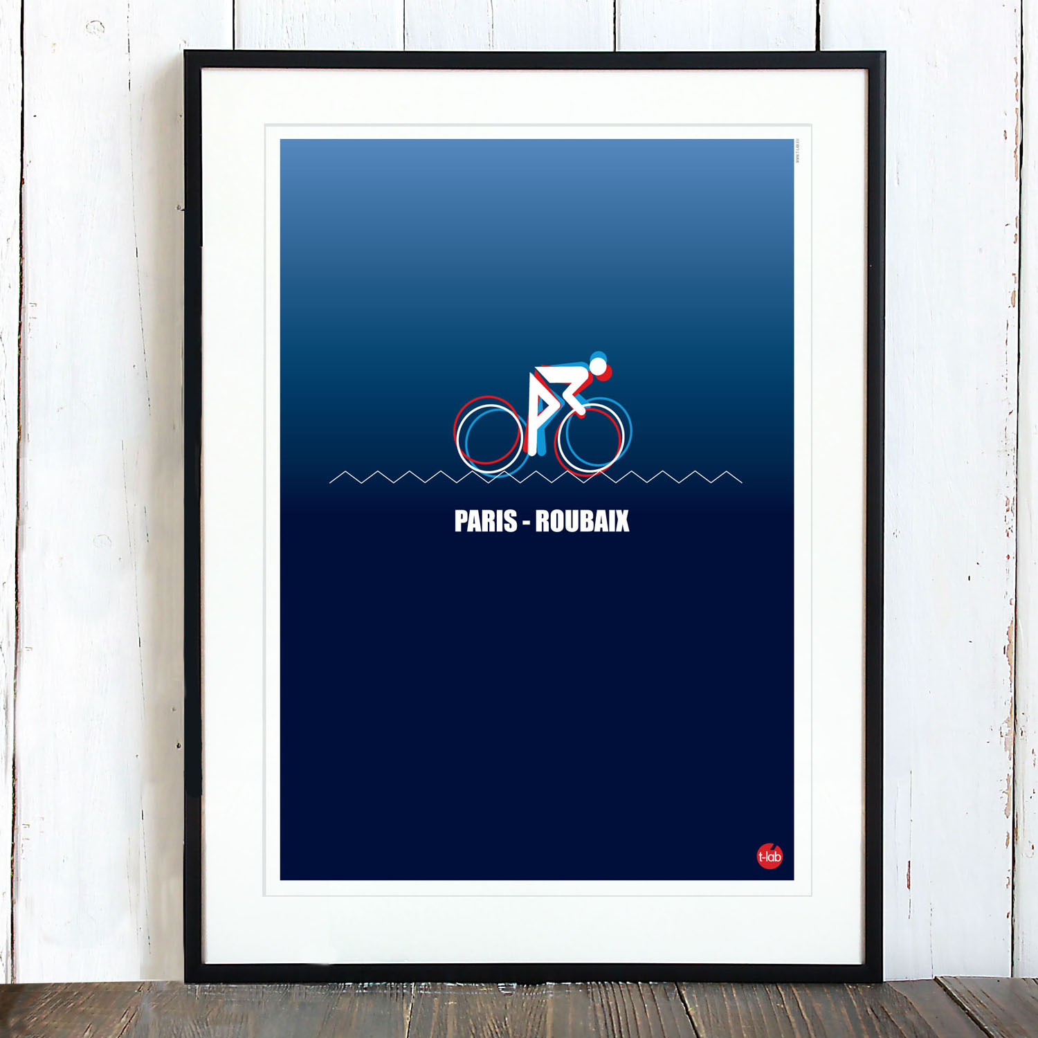 T-lab-Paris-Roubaix-A3-cycling-poster-framed