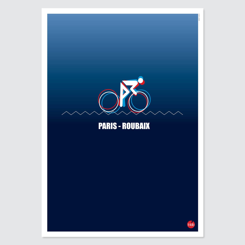 T-lab-Paris-Roubaix-A3-cycling-poster-unframed